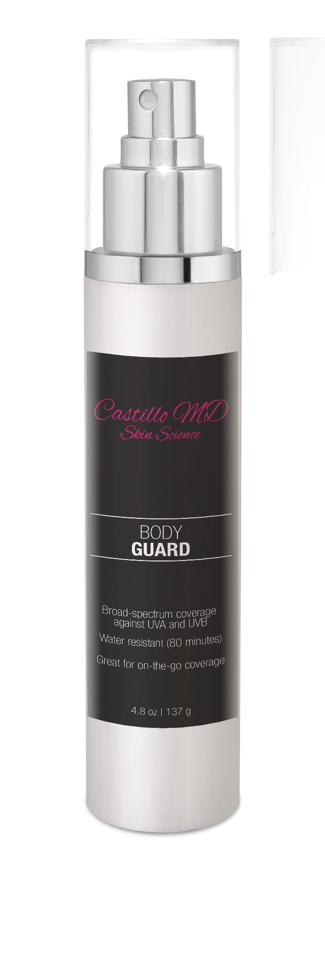 Bottle of body guard spf 46 by castillo md skin science