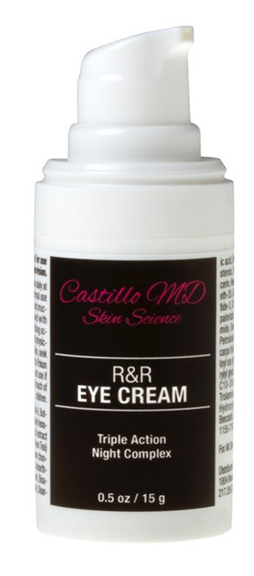 Bottle of r and r eye cream by castillo md skin science